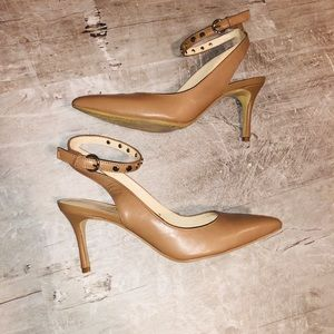 Nine West Nude Leather Maguire Heels